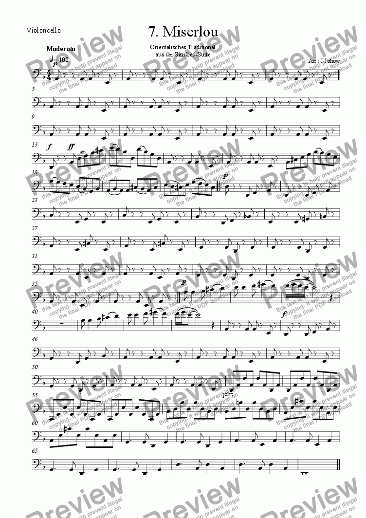 page one of the Vlc part from Sindbad-Suite 07 (Miserlou - Orchestra)