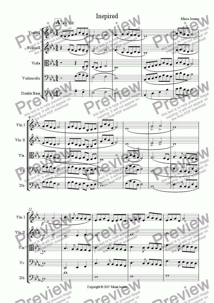 page one of the Violin 2 part from Inspired