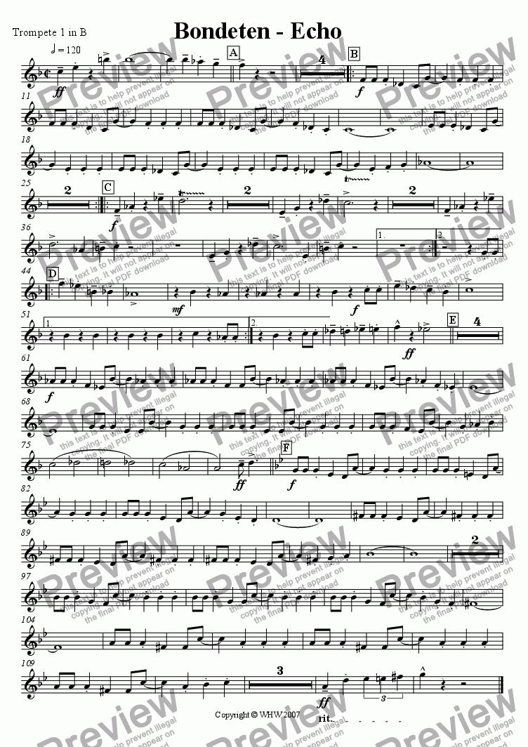 page one of the 1st Trumpet Bb part from BONDETENECHO