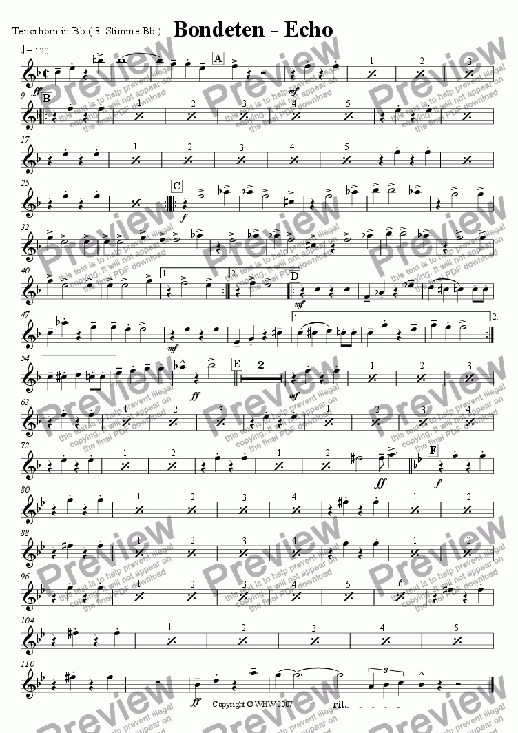 page one of the Tenorhorn in Bb ( subst. 3rd Voice ) part from BONDETENECHO