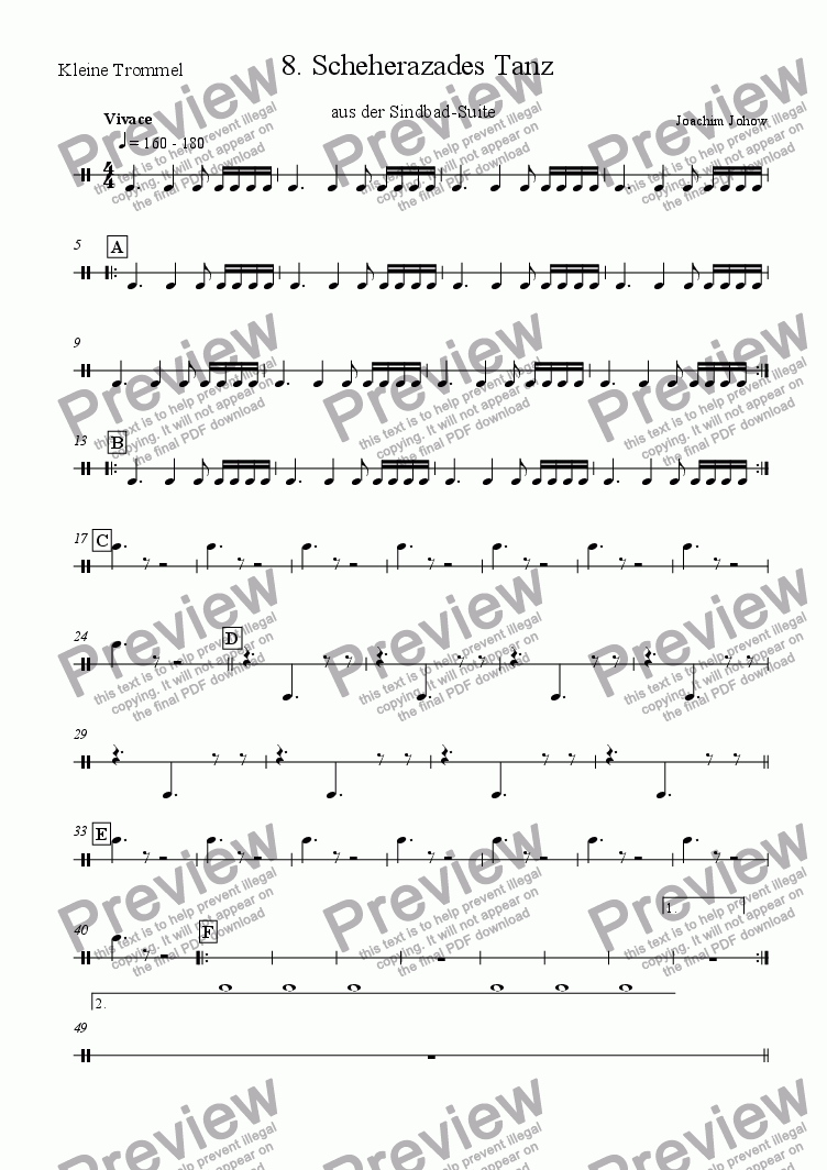 page one of the Trommel part from Sindbad-Suite 08 (Scheherazade - Orchestra)