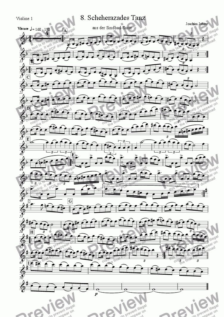 page one of the Vl 1 part from Sindbad-Suite 08 (Scheherazade - Orchestra)