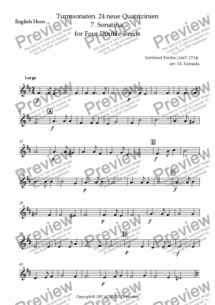 page one of the English Horn part from Turmsonaten. 24 neue Quatrizinien 7. Sonatina for Four Double-Reeds