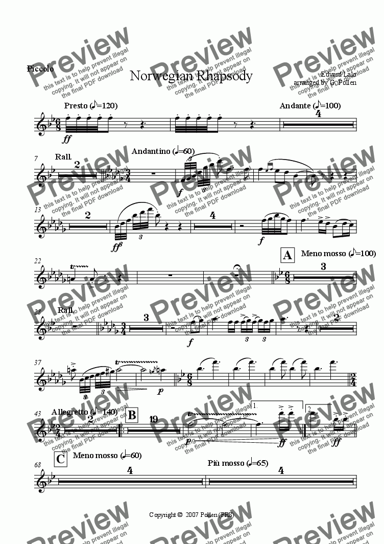 page one of the Piccolo part from Norwegian Rhapsody (CB)