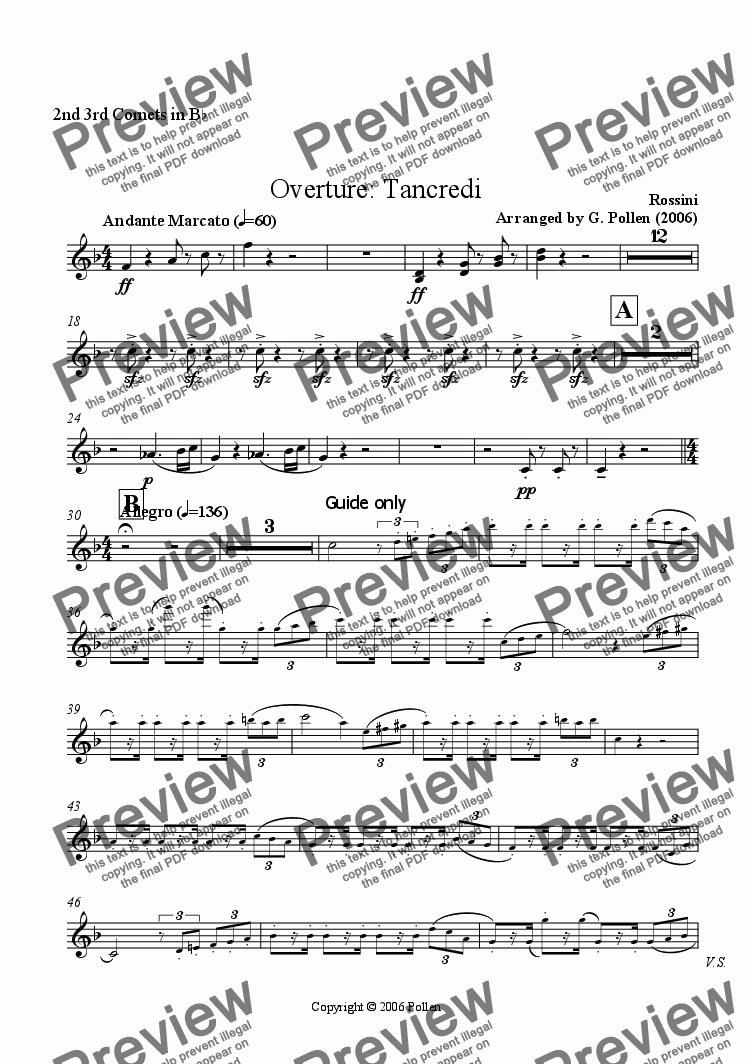page one of the 2nd 3rd Cornets part from Overture: Tancredi (CB)