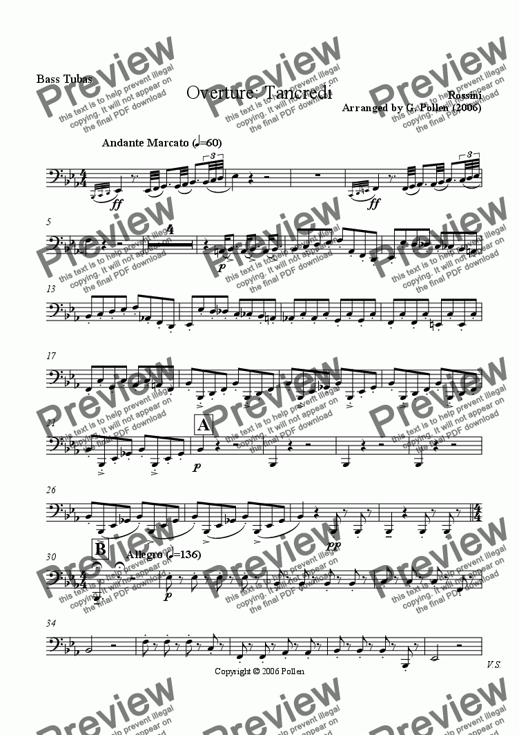 page one of the Bass Tubas part from Overture: Tancredi (CB)