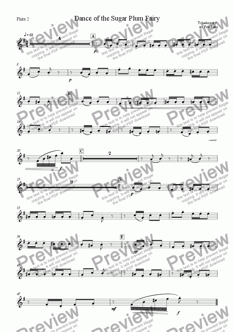 page one of the Flute 2 part from Dance of the Sugar Plum Fairy [Flute 4tet +piano]