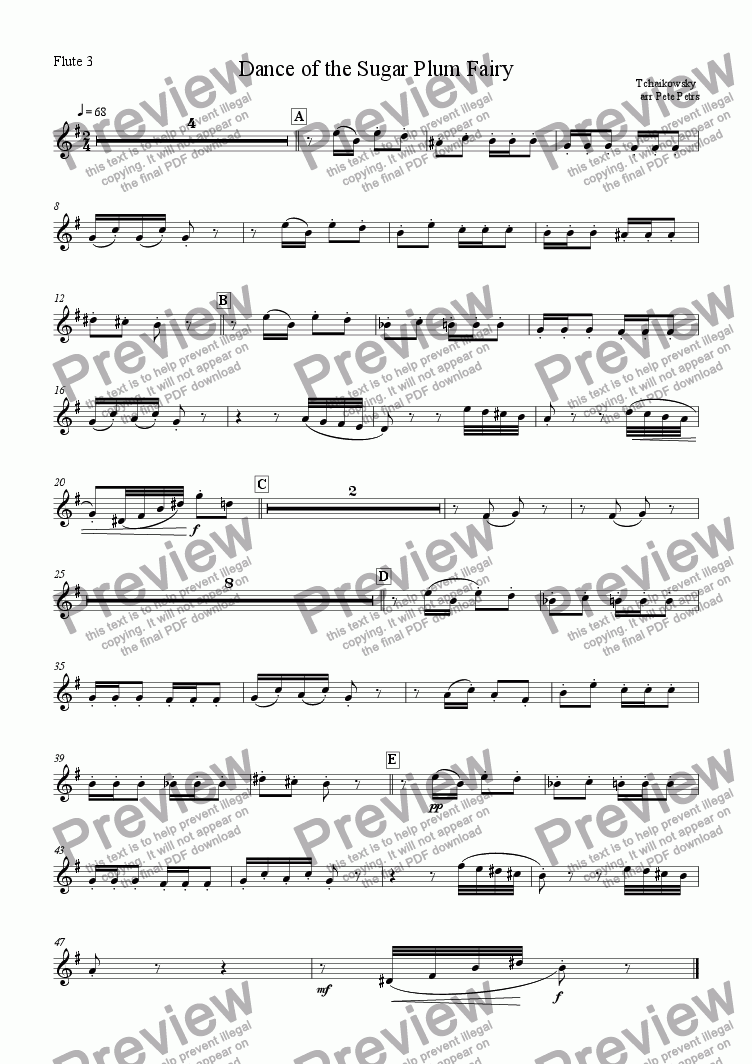 page one of the Flute 3 part from Dance of the Sugar Plum Fairy [Flute 4tet +piano]