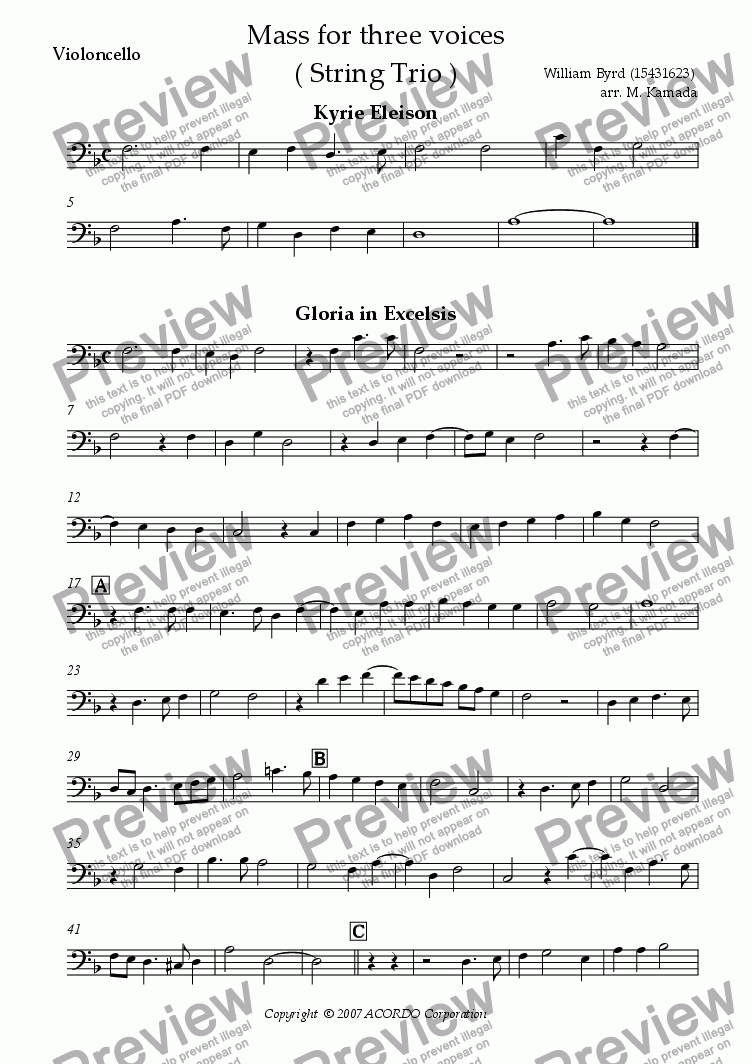 page one of the Cello part from Mass for three voices (two Violas & Cello)