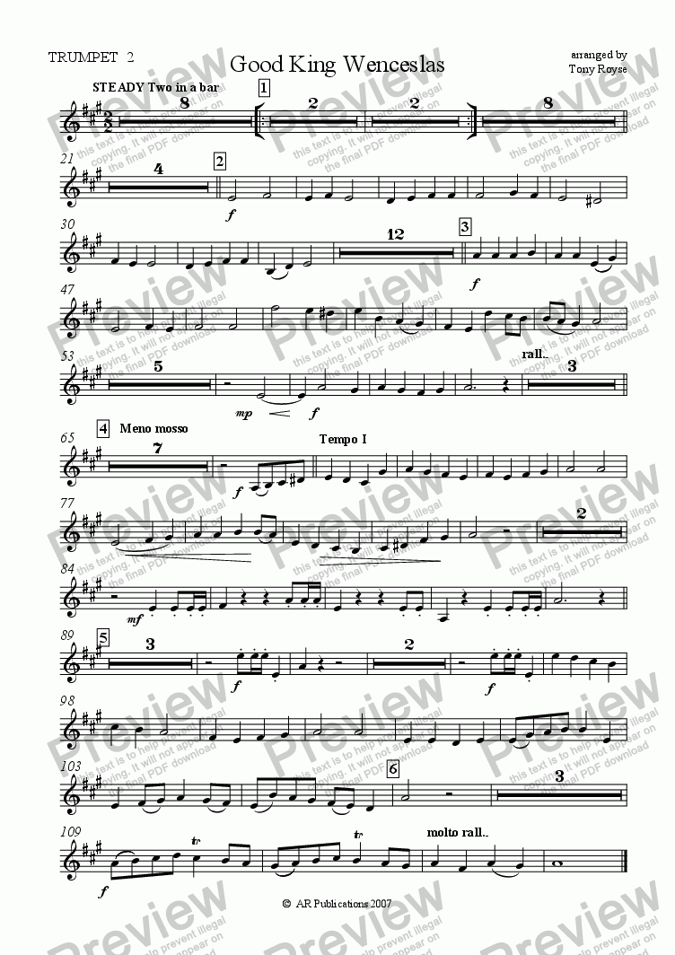 page one of the Trumpet 2 part from Good King Wenceslas