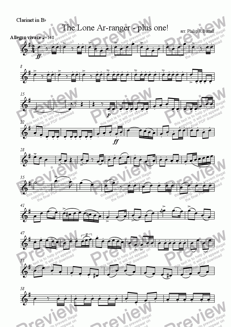 page one of the Clarinet in Bb part from The Lone Ar-ranger - plus one!