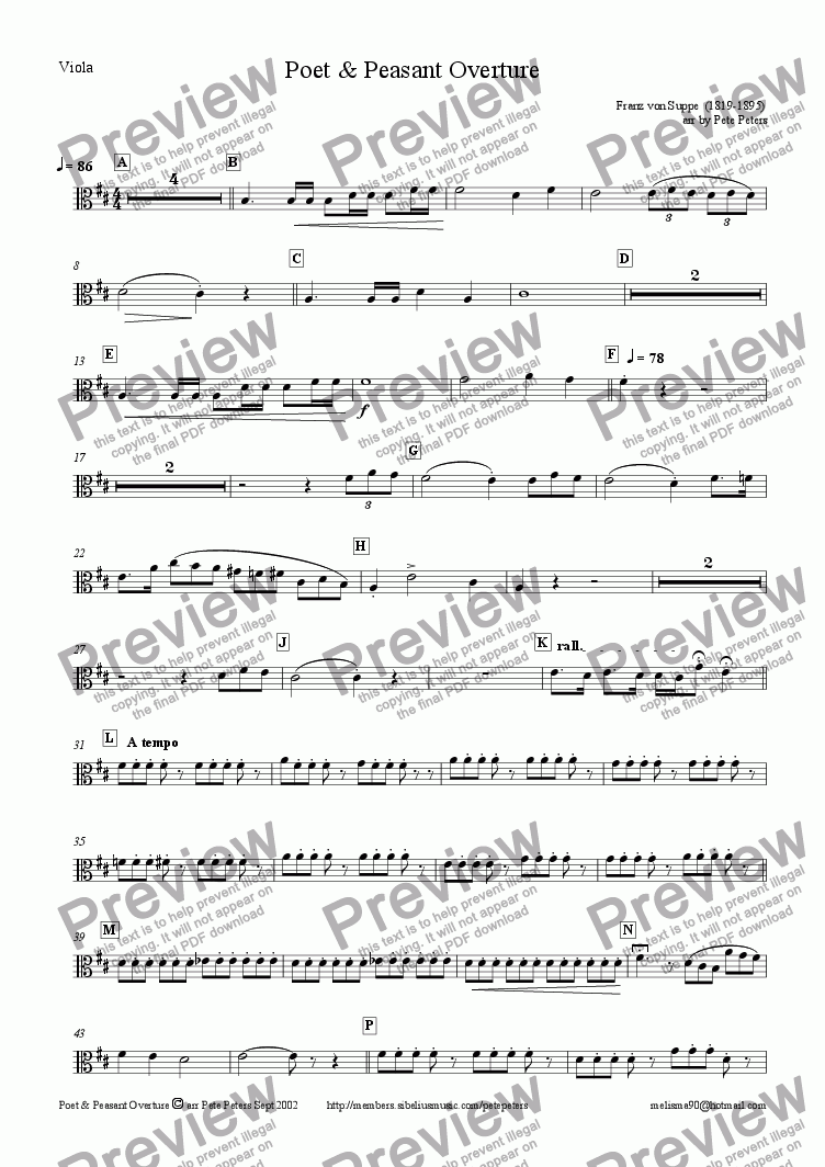 page one of the Viola.. part from Poet & Peasant Overture [Suppe] String 4tet + Piano