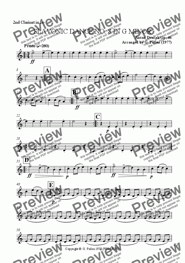 page one of the 2nd Clarinets part from Slavonic Dance No. 8 in G minor Op. 46 (CB)