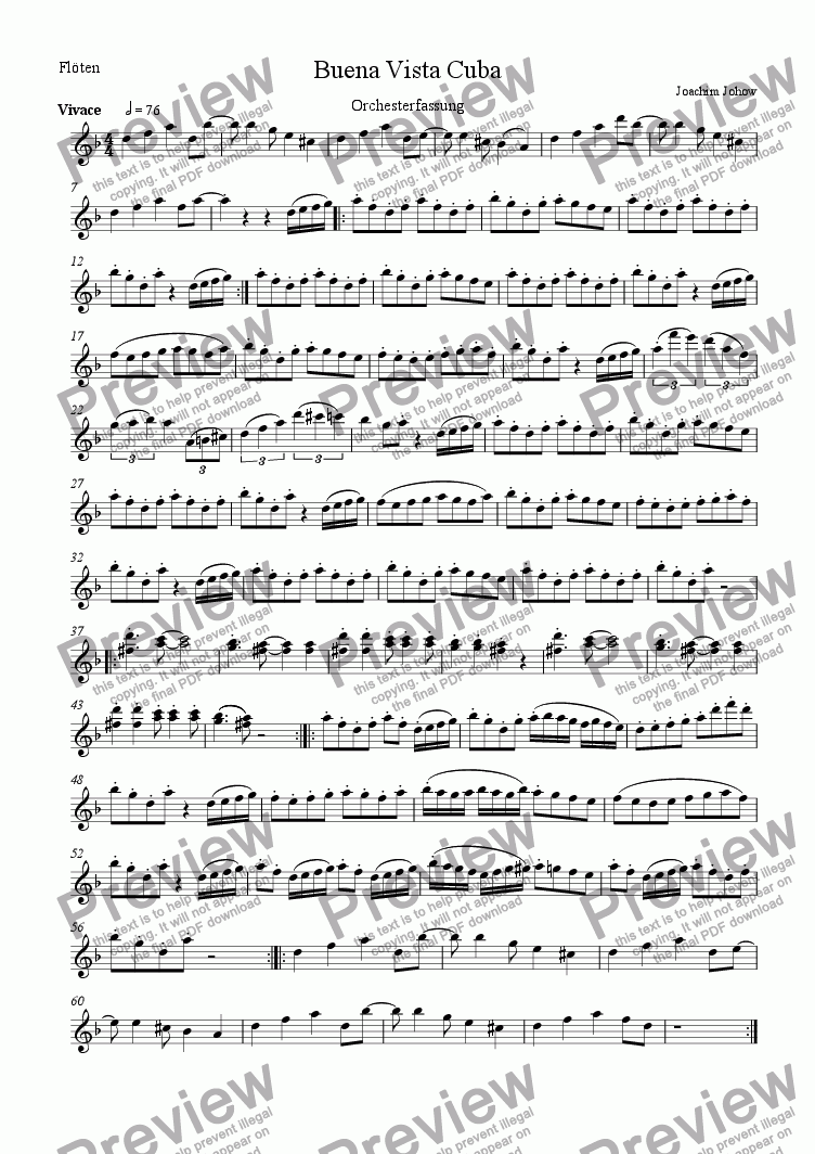 page one of the Fl part from Buena Vista Cuba (Orchestra)