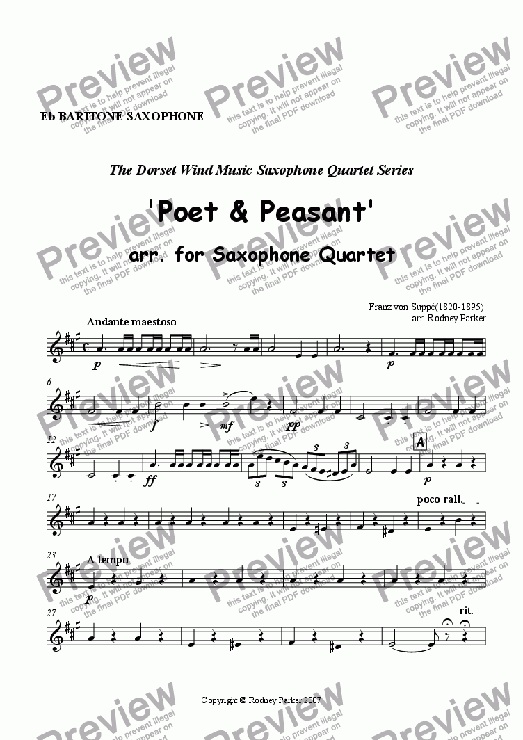 page one of the Baritone Saxophone part from  'Poet & Peasant' arr. for Saxophone Quartet