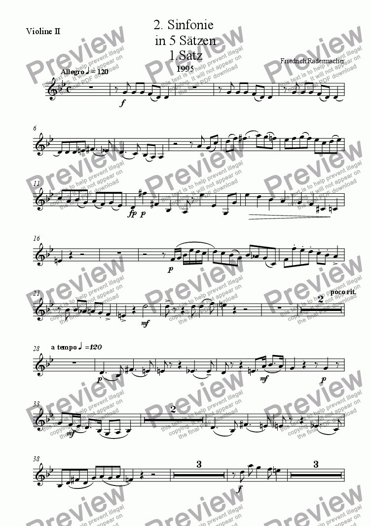 page one of the 2. Violine part from 2. Sinfonie in 5 Saetzen