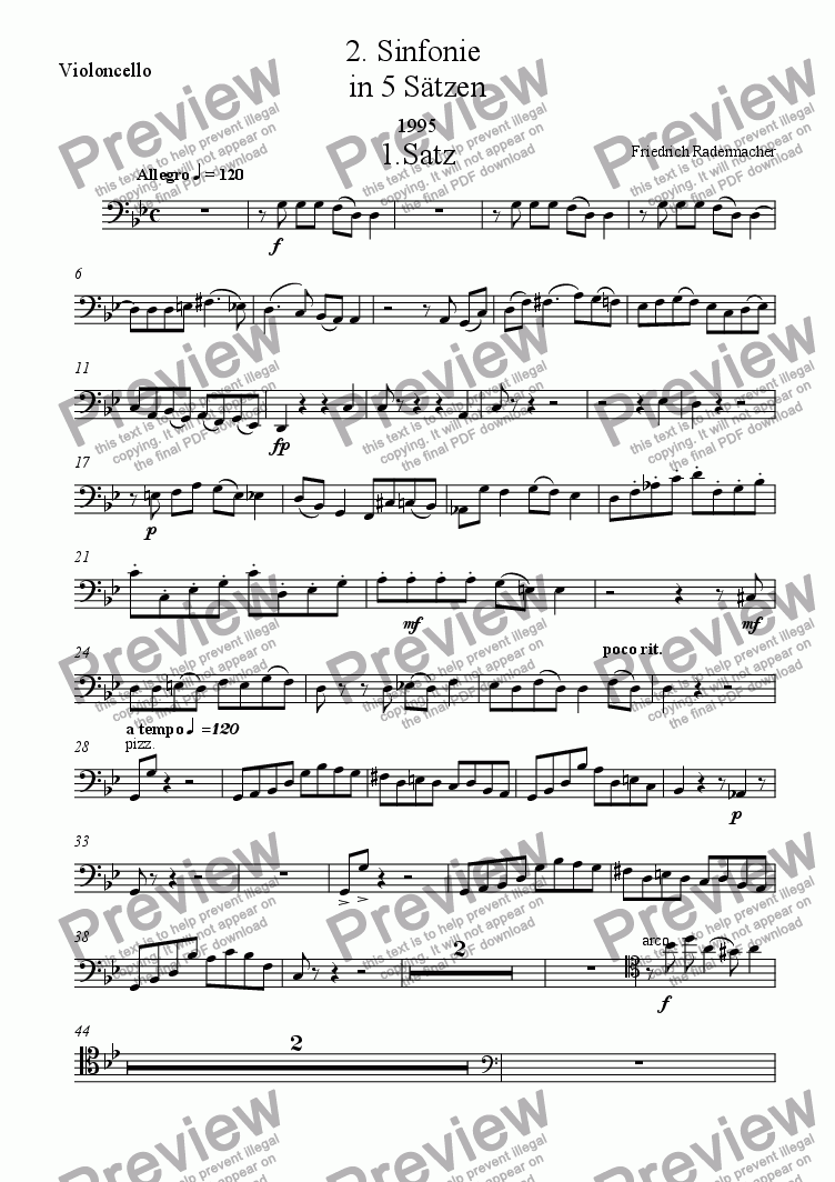 page one of the Violoncello part from 2. Sinfonie in 5 Saetzen
