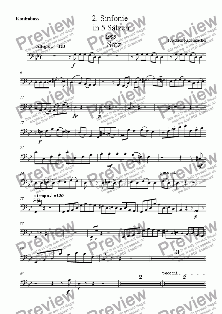 page one of the Kontrabass part from 2. Sinfonie in 5 Saetzen