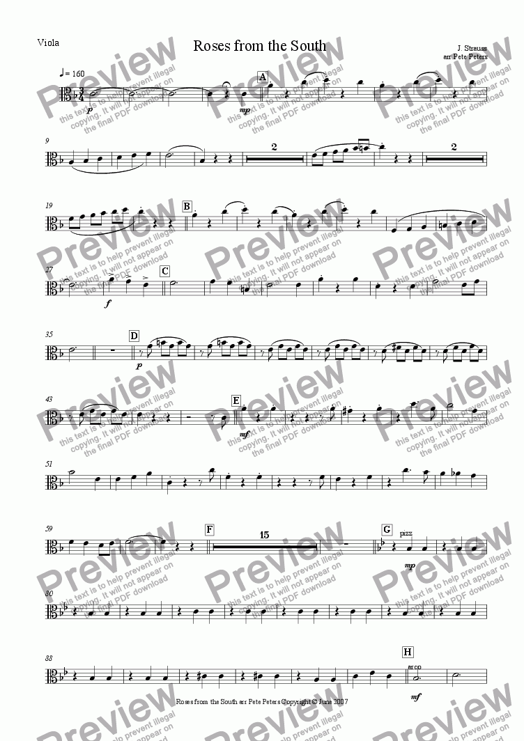 page one of the Viola... part from Roses from the South [Rosen Aus Dem Suden][J.Strauss] String 4tet+Piano