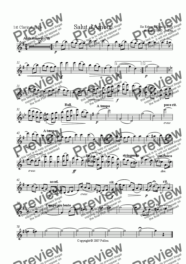 page one of the 1st Clarinet part from Salut d'amour (CB)