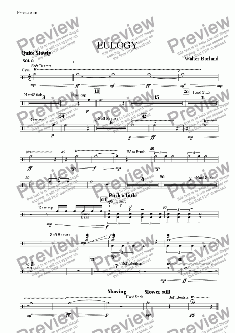 page one of the Percussion part from Eulogy