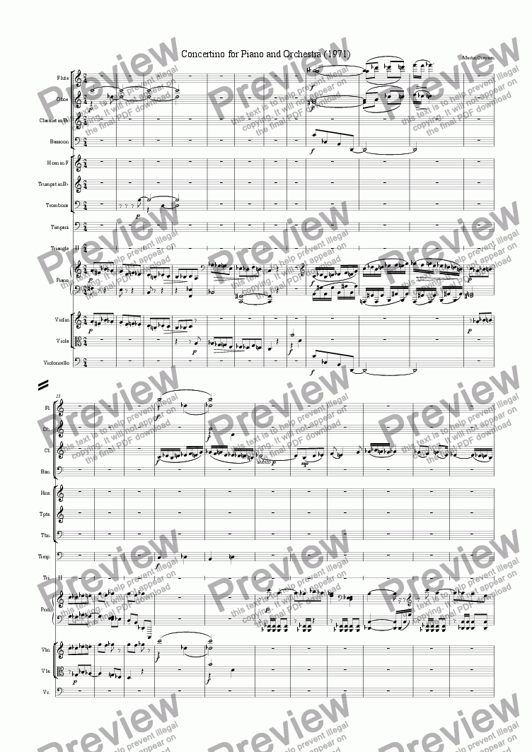 page one of the Violin part from Concertino for Piano and Orchestra