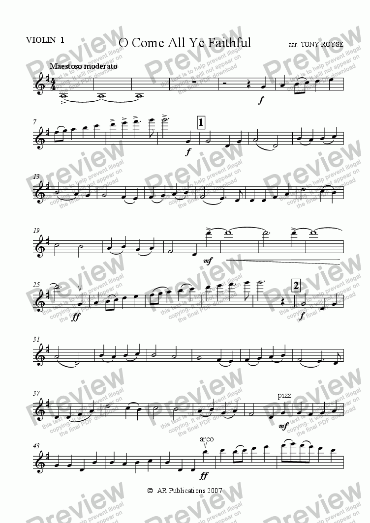 page one of the Violin 1 part from O Come All Ye Faithful