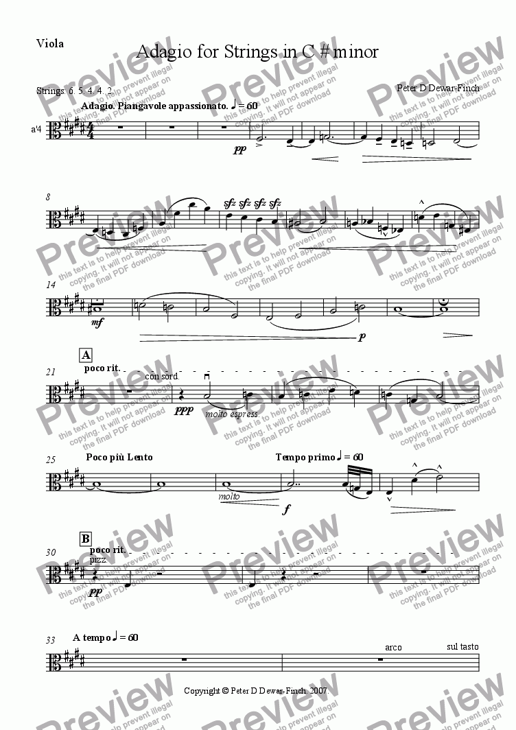 page one of the Viola part from Adagio in C# minor for String Orchestra