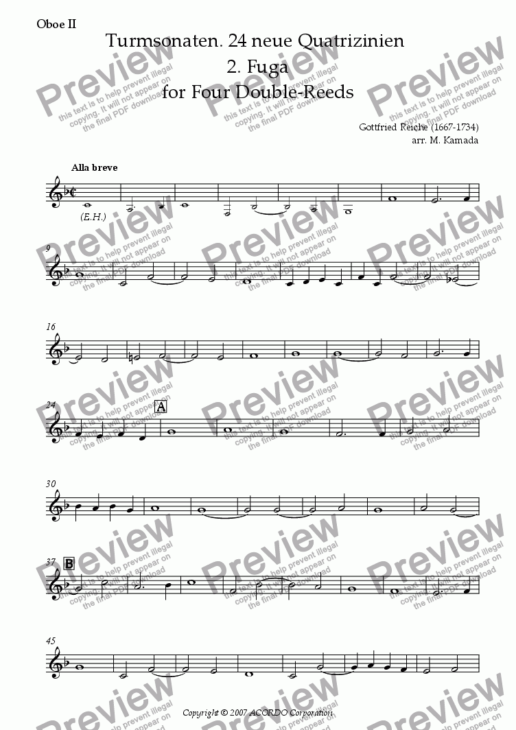 page one of the Oboe II part from Turmsonaten. 24 neue Quatrizinien 2. Fuga for Four Double-Reeds