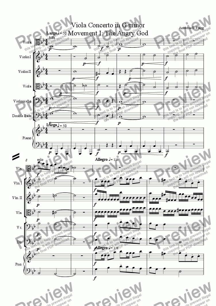page one of the Piano part from Viola Concerto in G minor Movement I: The Angry God