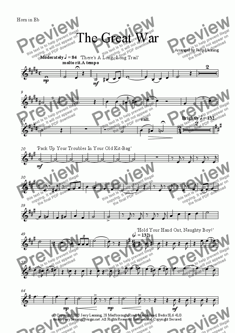 page one of the Horn in Eb part from The Great War (Brass Quintet) + mp3