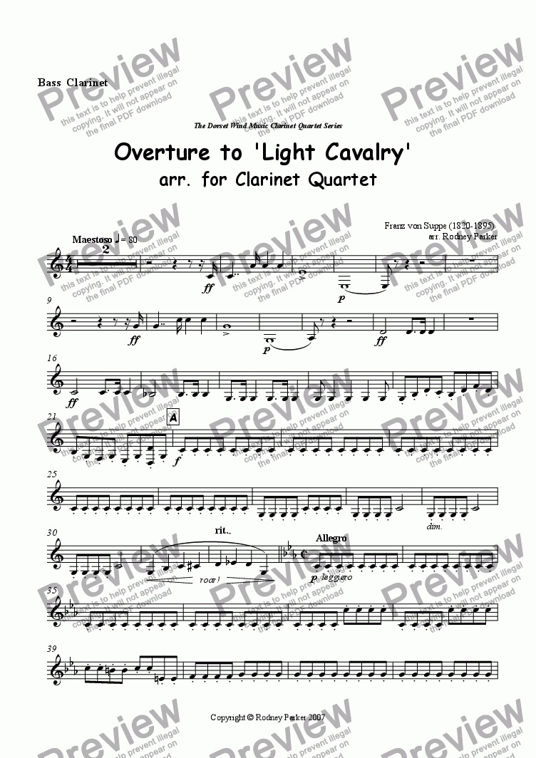 page one of the Bass Clarinet part from Overture to 'Light Cavalry' arr. forClarinet Quartet