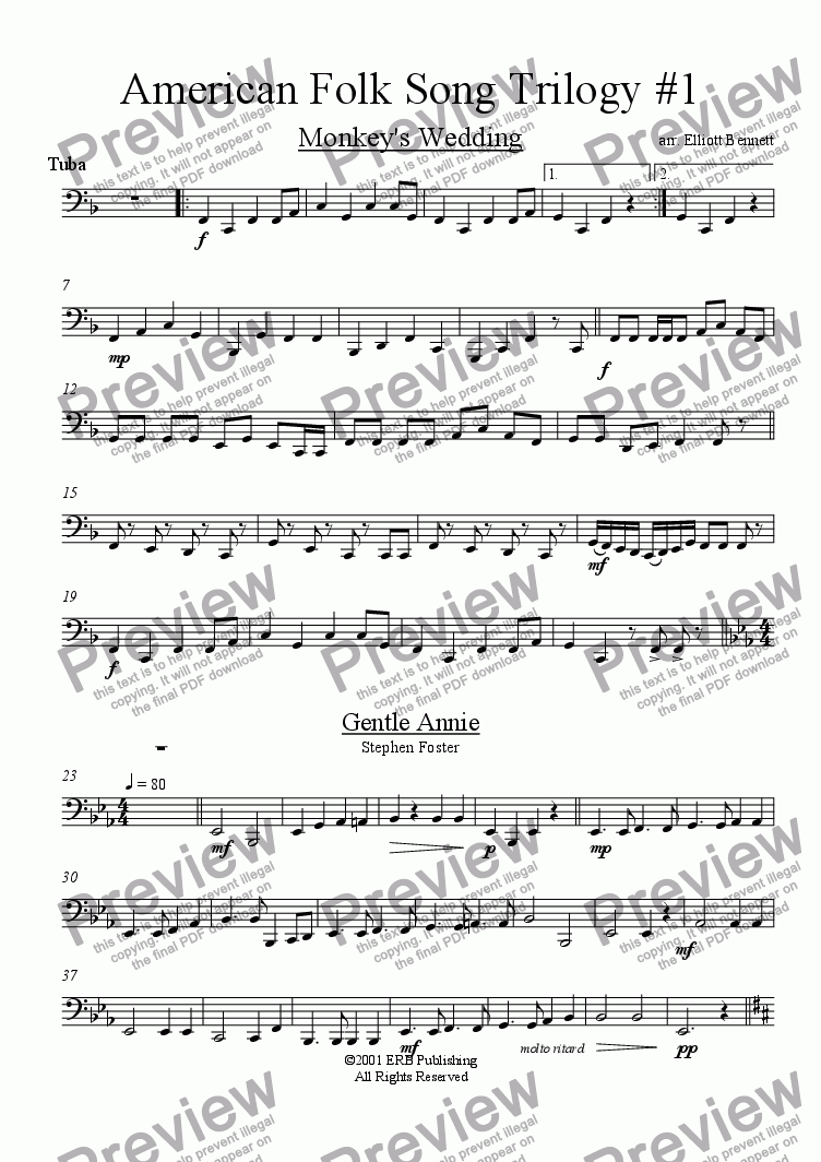 page one of the Tuba part from American Folk Trilogy #1