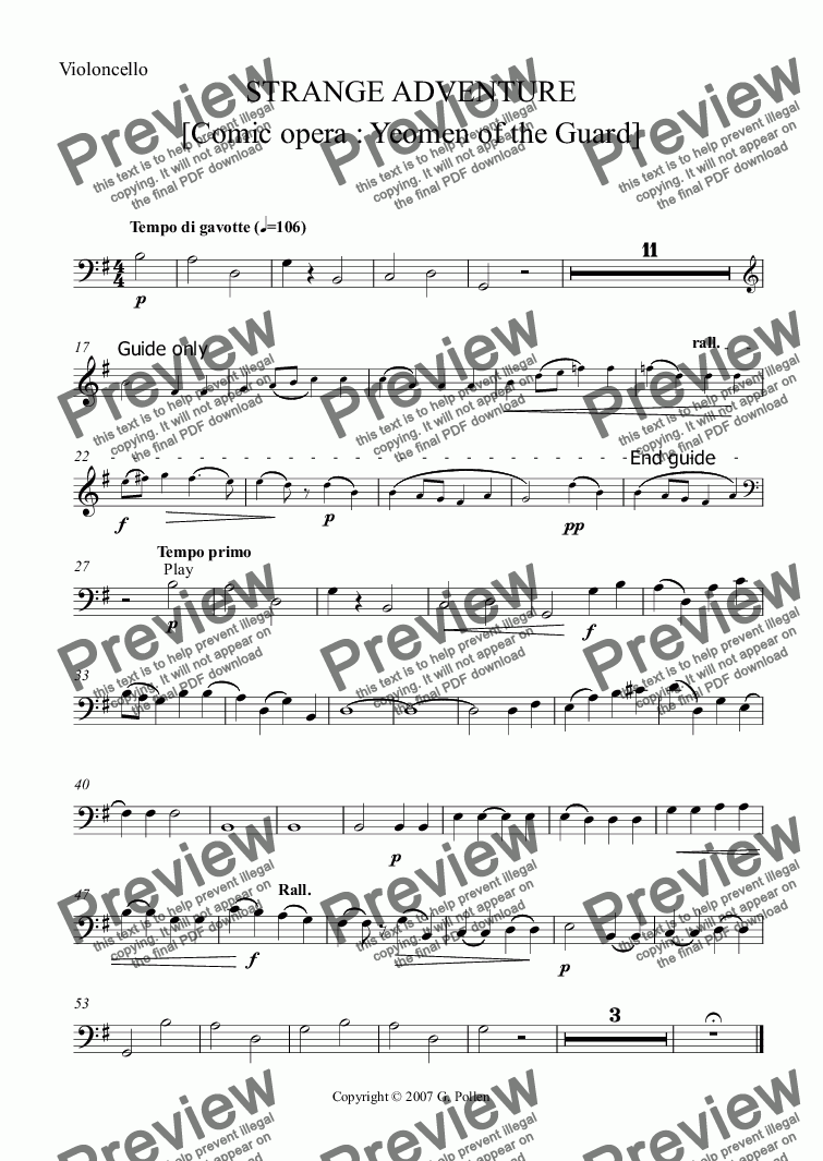 page one of the ViolonCello part from Strange Adventure [Yeomen of the Guard]