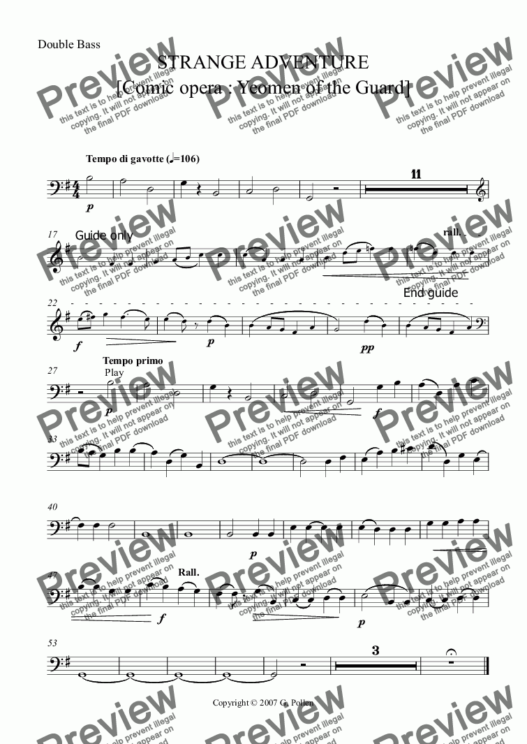 page one of the Double String Bass part from Strange Adventure [Yeomen of the Guard]