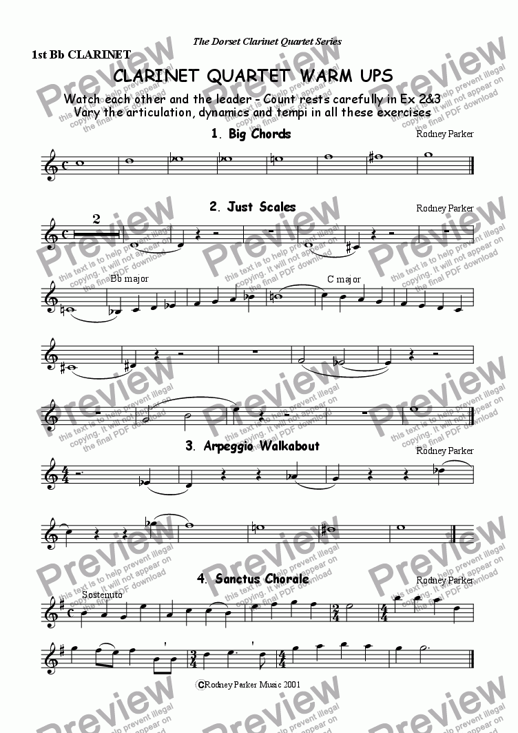page one of the 1st Clarinet part from Clarinet Quartet Warm Ups