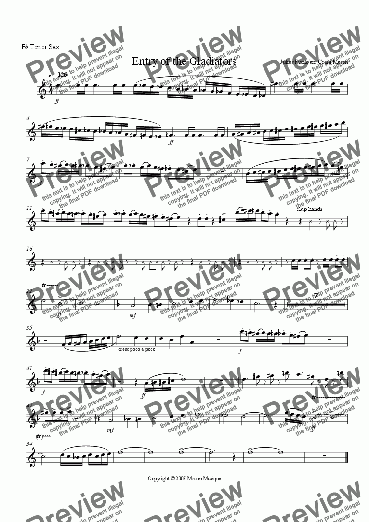 page one of the Tenor Sax part from Entry of the Gladiators