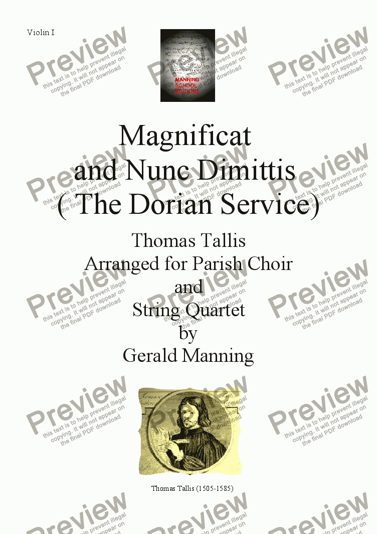 page one of the Violin I part from Choral Classics - Tallis, Thomas - Magnificat & Nunc Dimittis ( The Dorian Service) - arranged for Parish Choir & String Quartet by Gerald Manning