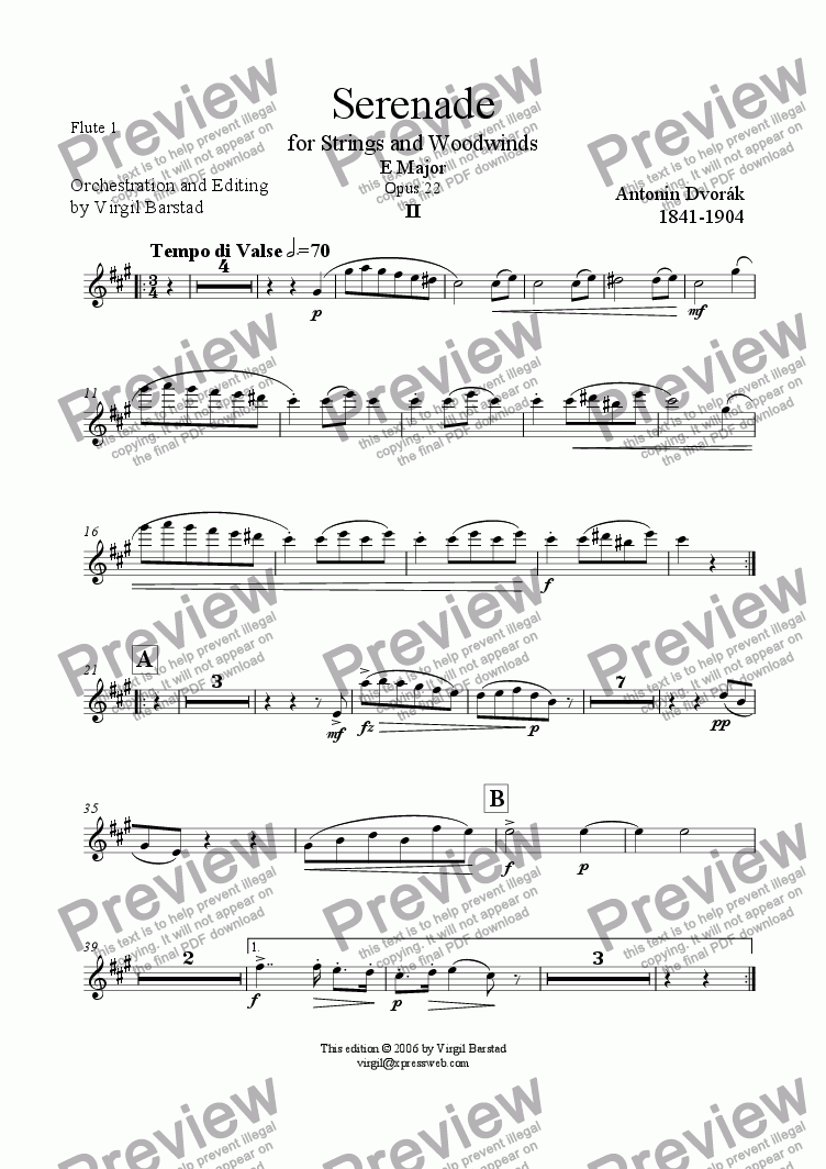 page one of the Flute 1 part from Serenade for Strings and Winds Op 22 - 2