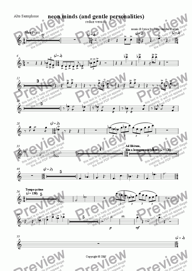 page one of the Alto Saxophone part from neon minds and gentle personalities [redux] (juvenilia, mixed ensemble)