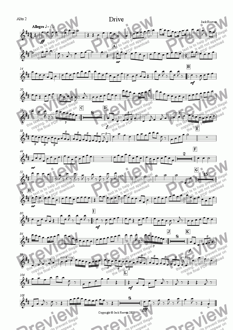 page one of the Alto Saxophone 2 part from Drive (Bigband)