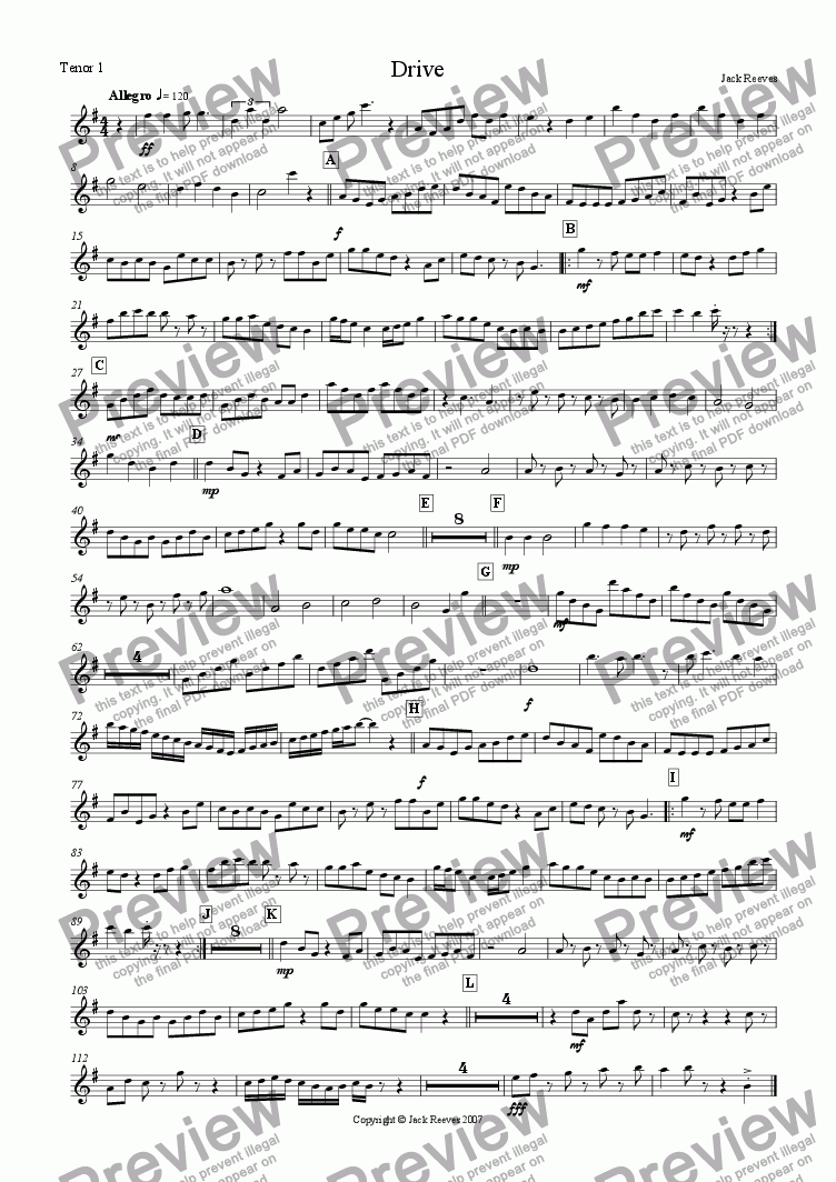 page one of the Tenor Saxophone 1 part from Drive (Bigband)
