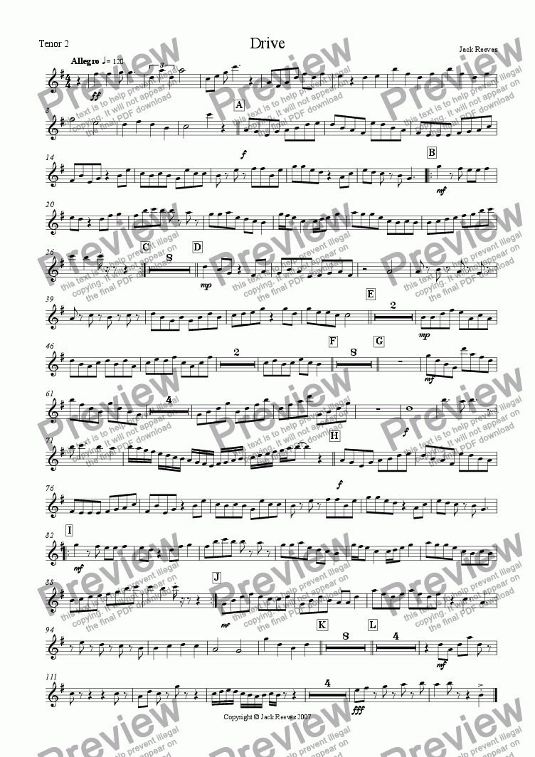 page one of the Tenor Saxophone 2 part from Drive (Bigband)