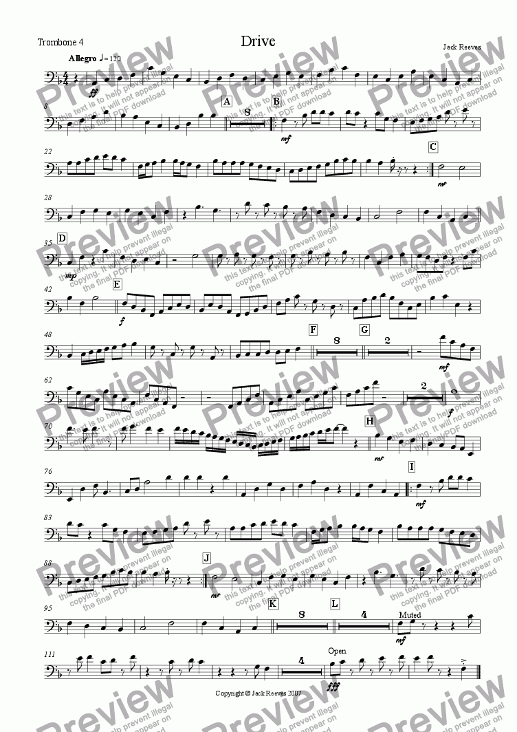 page one of the Trombone 4 part from Drive (Bigband)