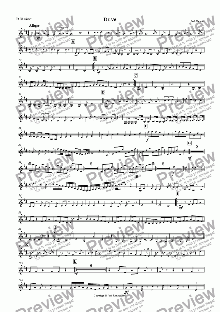 page one of the Eb Clarinet part from Drive (Clarinet Choir)