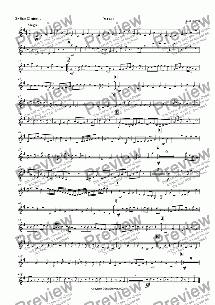 page one of the Bb Bass Clarinet 1 part from Drive (Clarinet Choir)
