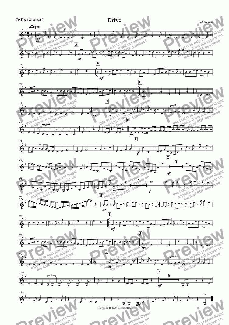 page one of the Bb Bass Clarinet 2 part from Drive (Clarinet Choir)