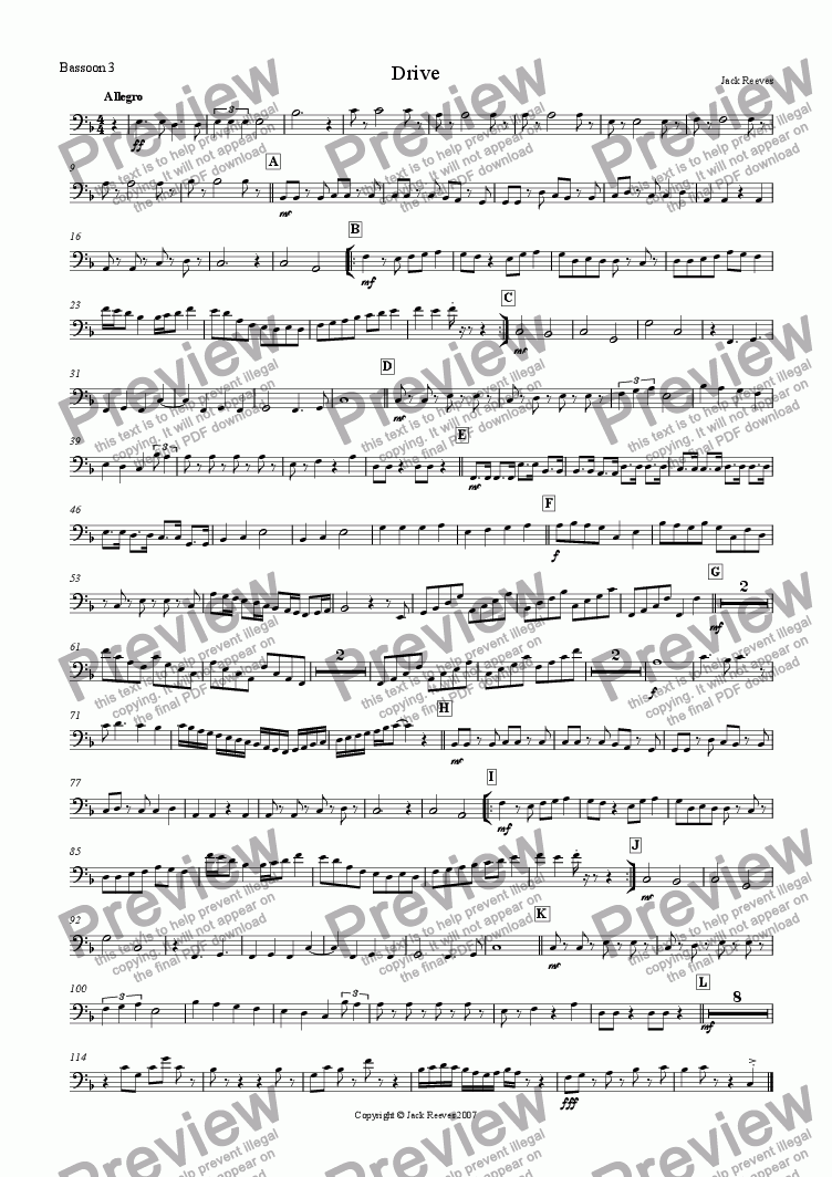 page one of the Bassoon 3 part from Drive (Double Reed Ensemble)