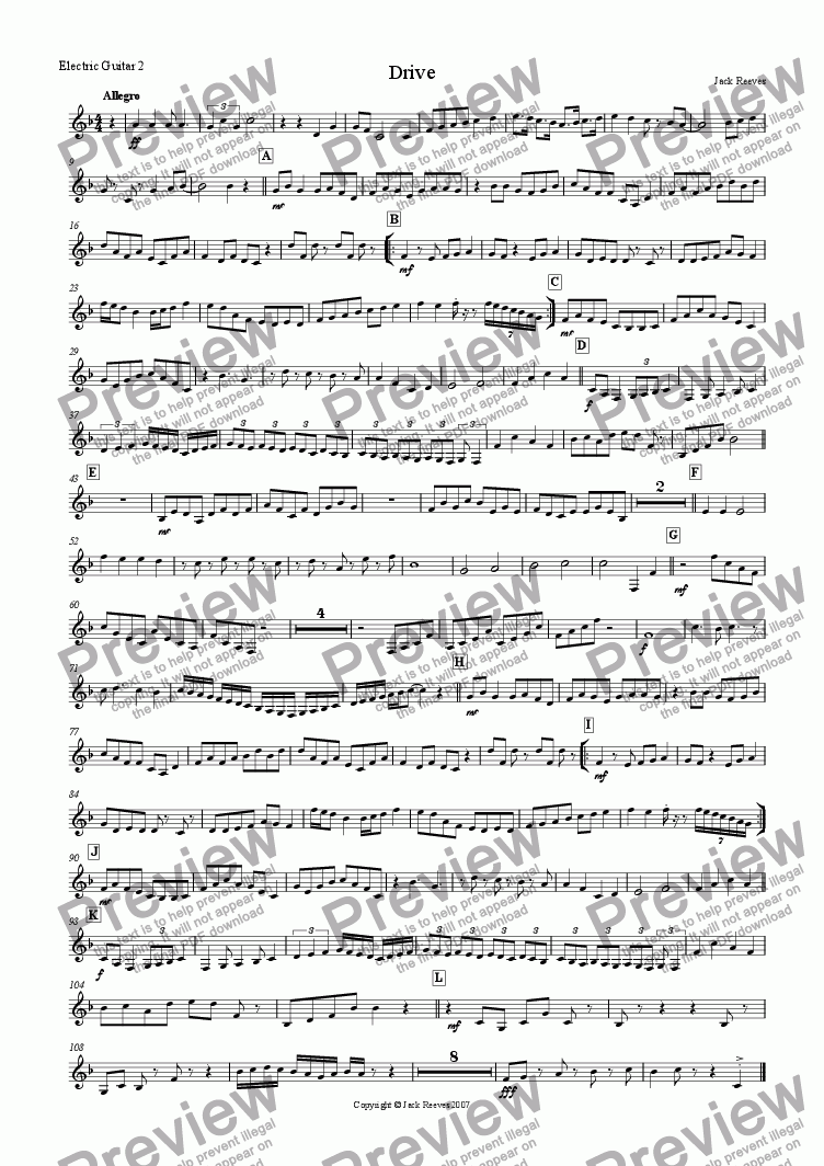 page one of the Electric Guitar 2(Notation) part from Drive (Guitar Ensemble)