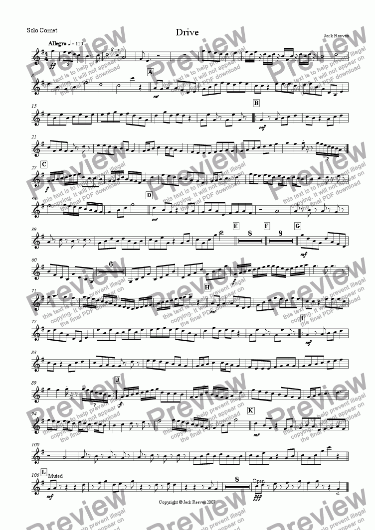 page one of the Solo Cornet part from Drive (Brass Band)